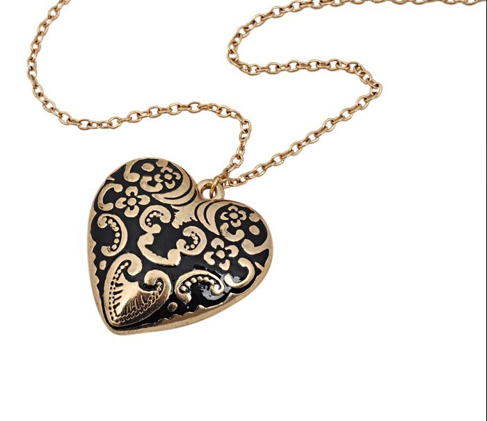 Cheap Jewelry antique aulic big heart long pendent necklace women wholsale st