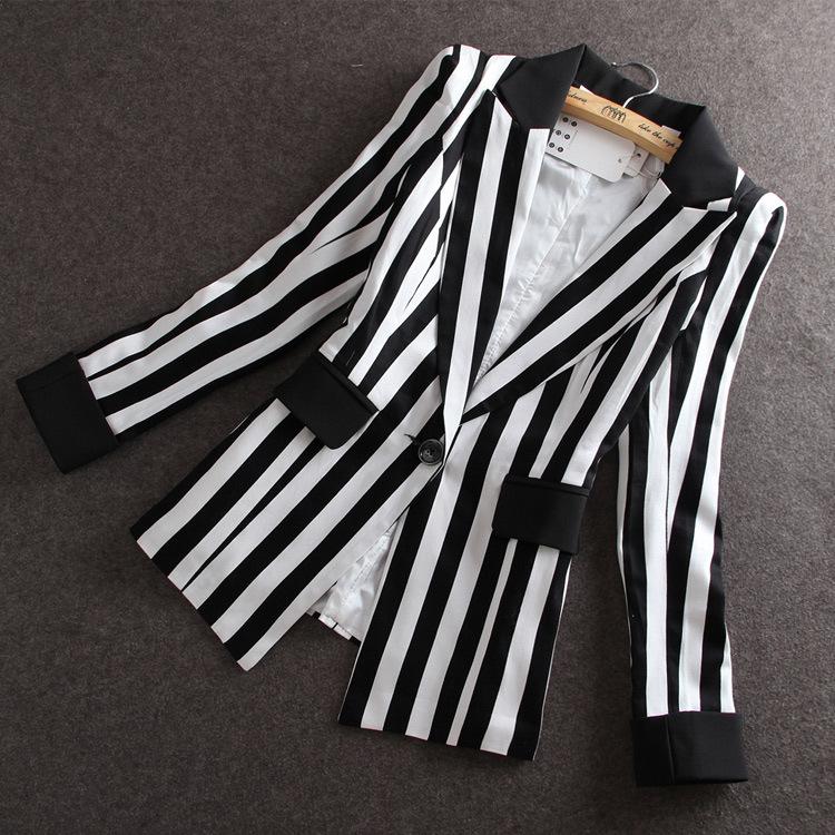 High Quality 2017 Autumn New new Korean Slim small suit Jacket Women Black And White Striped Blazer feminino Plus size M-XXXL