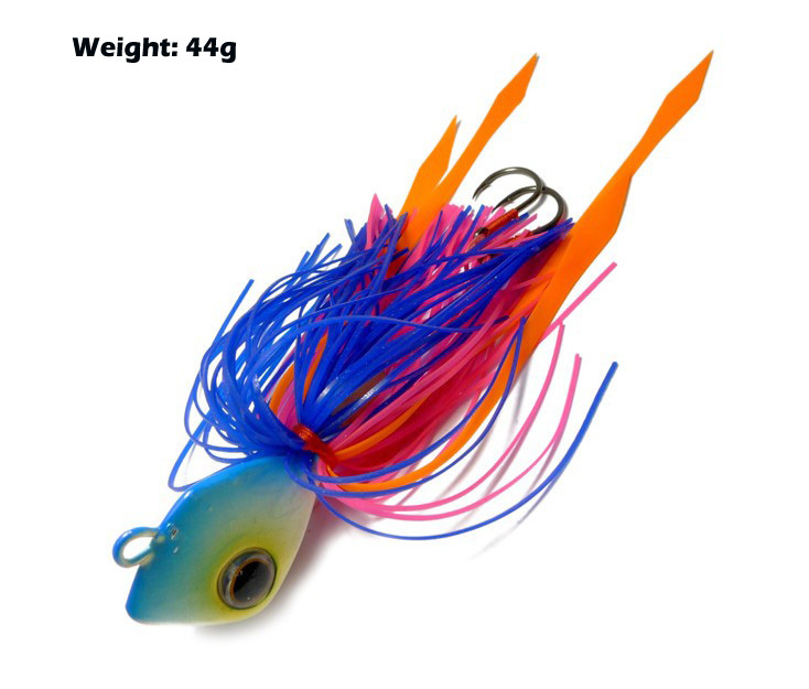 2pcs weight 44g lead head fishing lures jig head rubber for Rubber fishing lures