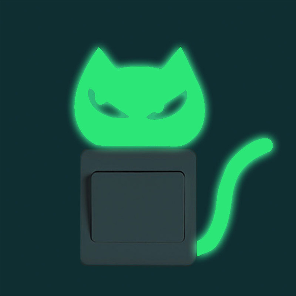 Luminous Switch Panel Sticker Cute Creative Kitten Cat Pattern Noctilucent Glow Switch Wall Sticker Home Levert Dropship 3MAR28