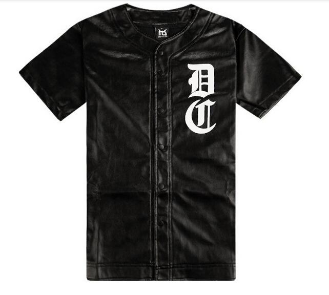 Hot,2015 men`s fashion brand faux leather baseball jerseys pu t shirts short sleeve(China (Mainland))