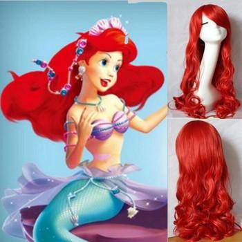 РУСАЛОЧКА АРИЭЛЬ Вьющиеся волны рыжий парик косплей парик аниме peluca cabelo волос Топ корейский сетку для волос kanekalon синтетические волосы