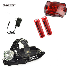 Waterproof LED18650 Headlight Headlamp Headtorch Adjust Focus For Bicycle Camping Hiking+18650 batteries+Charger+Bike tail light(China (Mainland))