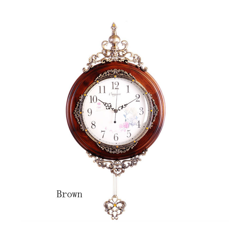 New solid wood european wall clock fashion modern luxury antique pendulum wall clock home decor - Stylish pendulum wall clock ...