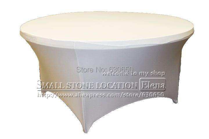 Free Shipping white Spandex Table Cover For 72inch Dia Table ,used for Wedding ,Banquet, Party(China (Mainland))