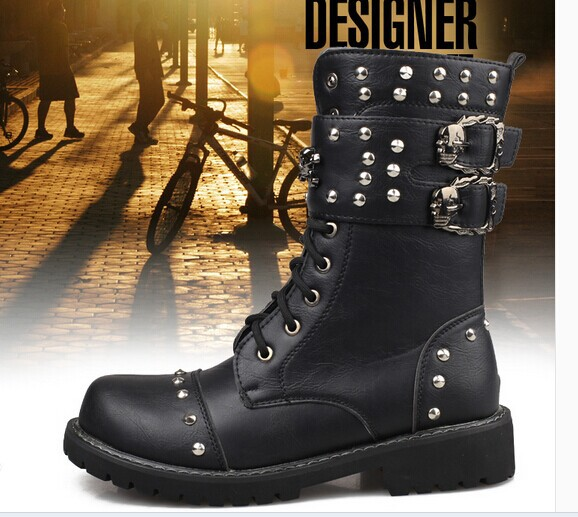 2015 new Korean version trend rivet men boots fashion big yards punk Martin male military - Combat Gear www. austinscope. com store