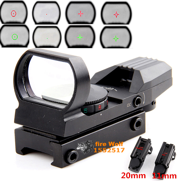 Holographic 4 Reticle Red/Green Dot Tactical Reflex Sight Scope with Mount for Gun 33mm New Free Shipping!(China (Mainland))