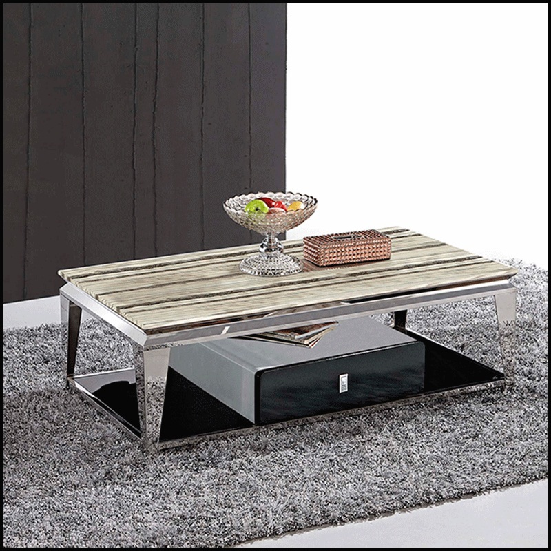 durable coffee table marble top for living room stainless