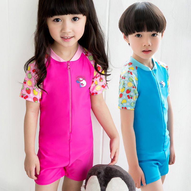Cute Cartoon Kids Wetsuit for Boys/Girls Diving Suits One Piece Swimsuits Short Sleeves 2016 AE(China (Mainland))