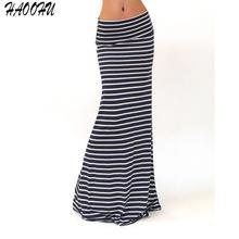 2016 New Fashion Autumn Sexy Women Long Skirts Vestidos Casual Striped Womens High Waist Skirts Maxi Package Hip Skirt 9161 DX