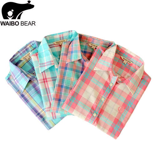 New 2015 Lady Shirt spring And autumn 100% cotton Plaid shirt women pure cotton Blouses Casual Button Down Lapel Tops Blouse(China (Mainland))