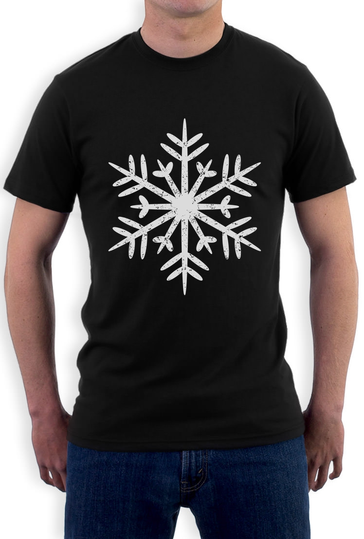 Summer O-Neck Hipster Tops Big White Snowflakes Xmas Gift Idea T Shirt Happy Holidays Hot Selling 100 % Cotton