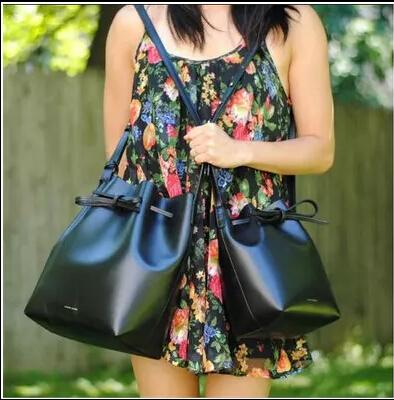 Здесь можно купить  Women Fashion Brand MANSUR GAVRIEL Nappa Leather Drawstring Bucket Shoulder Crossbody Bag with Logo  Камера и Сумки
