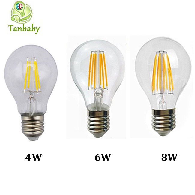 Tanbaby 1pcs 2W 4W 6W 8W A60 E27 Led filament bulb clear grass edison light bulbs indoor led lighting 110/240V filament lamp(China (Mainland))