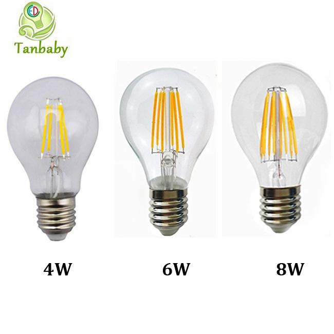 Tanbaby 1pcs 2W 4W 6W 8W A60 E27 Led filament bulb clear grass edison light bulbs indoor led lighting 110/240V filament lamp(China (Mainland))