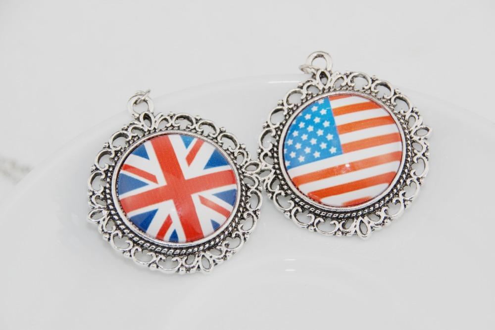 2015 Retro flag necklace & pendant FOR men women Fashion vintage Silver Alloy Pendant Friendship Lovers Couple Gift - girl house store