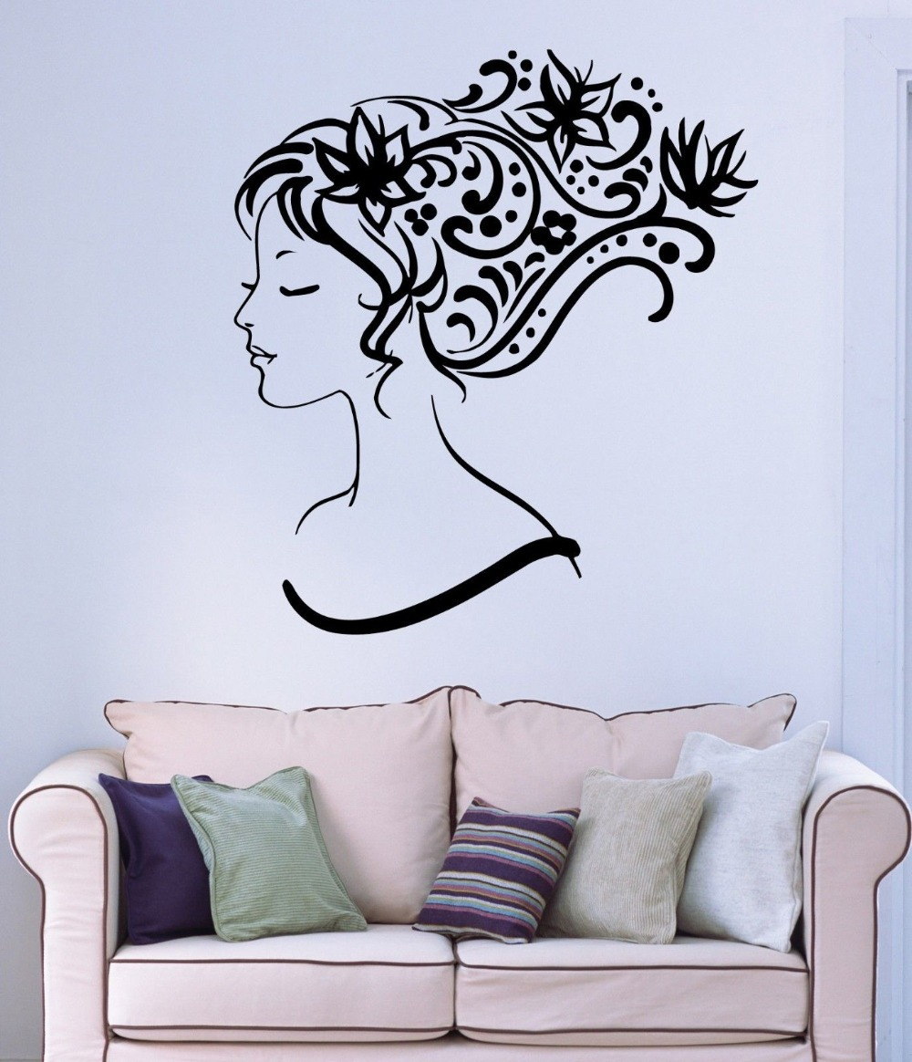 Salon sticker beauty decal hair barber shop sexy girl posters vinyl wall art - Decoration mural salon ...