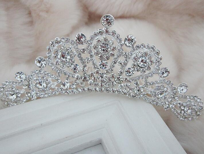 Wedding bridal tiara crown silver plated fashion crystal hairbands for brides crown vintage design hair accessories(China (Mainland))