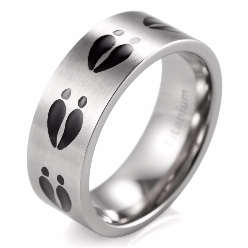Matte Finishing Titanium Black Deer Tracks Ring Hunting Wedding Band-8mm(China (Mainland))