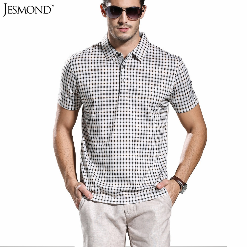 Plus Size Cotton Plaid Casual Men Polo Shirt Business Golf Polos Shirts Mens Patchwork Short Sleeve Grey Tops 9918 MZTXPO010(China (Mainland))