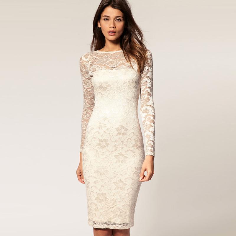 Fashion 2012 bride wedding full lace long sleeve dress for Pencil dress for wedding