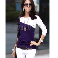 COTTON T-SHIRT spring summer autumn Women's T-Shirt Splice Casual Round Neck Long Sleeve T-Shirt 5 Colors 3size S M L  35