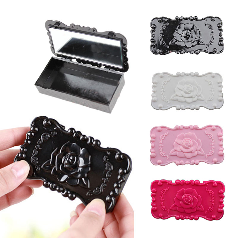 New Cute False Eyelashes Earrings Necklace Container Rose Jewelry Box Mirror Storage(China (Mainland))