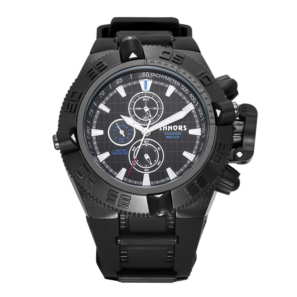 2016 shhors black gold silicone sports watches