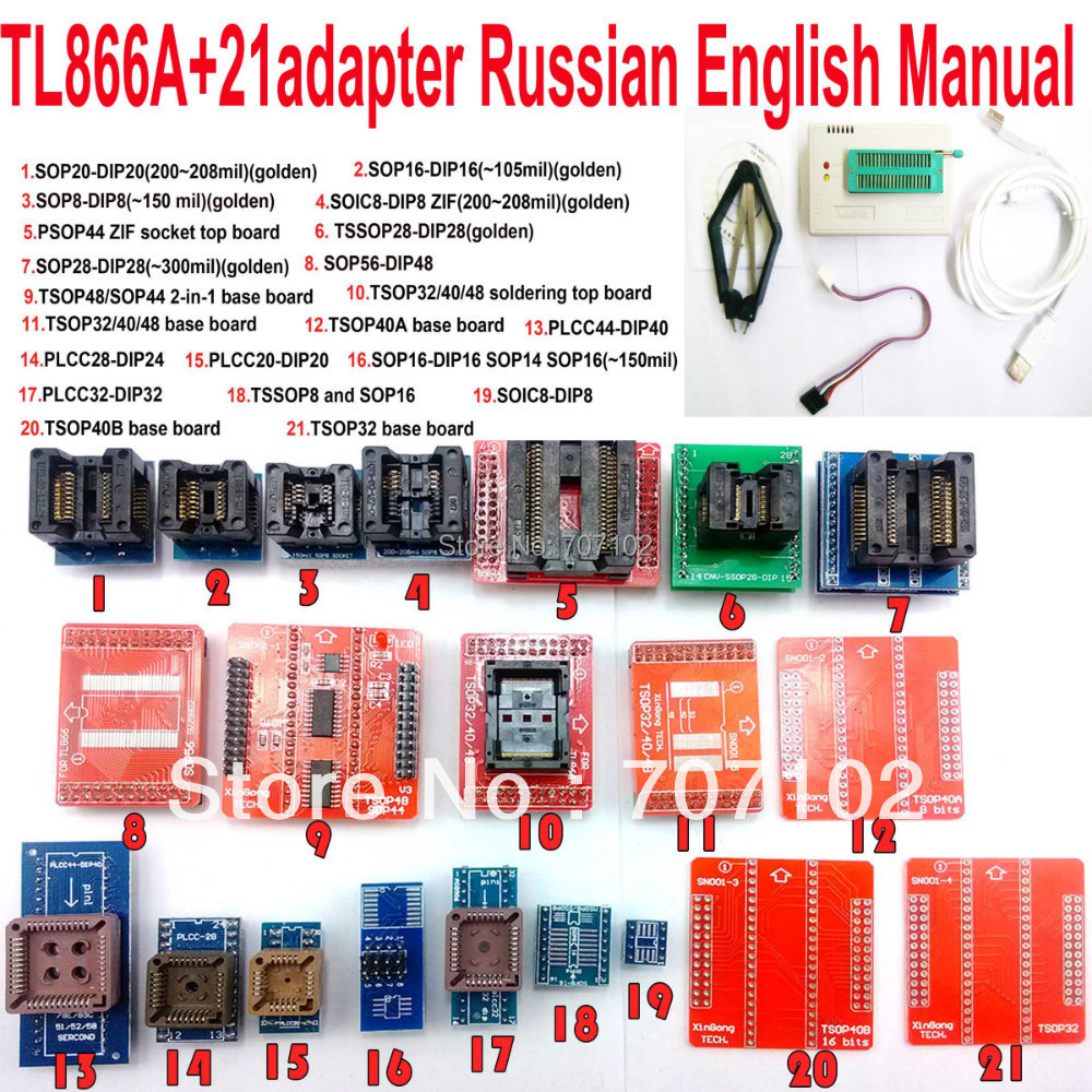 TL866A programmer + 21 adapters english russian manual High speed TL866 AVR PIC Bios 51 MCU Flash EPROM Programmer(China (Mainland))