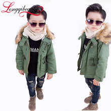 2015 New Boys Jackets Winter Coat Solid Long Sleeve Boys Coat Hooded Kids Clothes Fashion Thick Warm Children Clothing 2 Colors(China (Mainland))