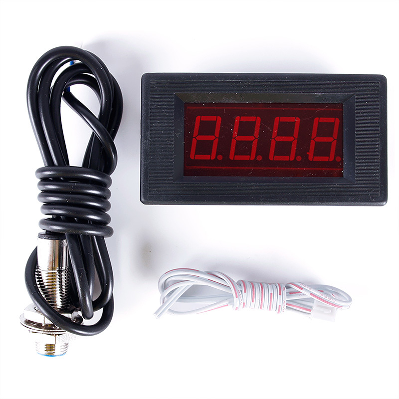 New 4 Digital Red LED Tachometer RPM Speed Meter Proximity Switch Sensor NPN 3 Wires 69233