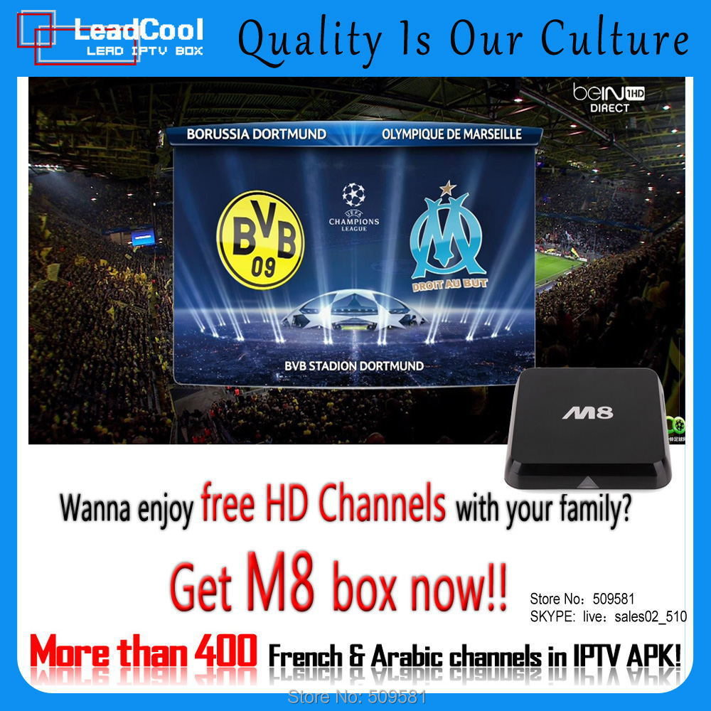 600+channels one year free watching +Leadcool Quad Core M8 2GB DDR3 XBMC 3D android European QHDTV box HD Media Bein Sports(China (Mainland))