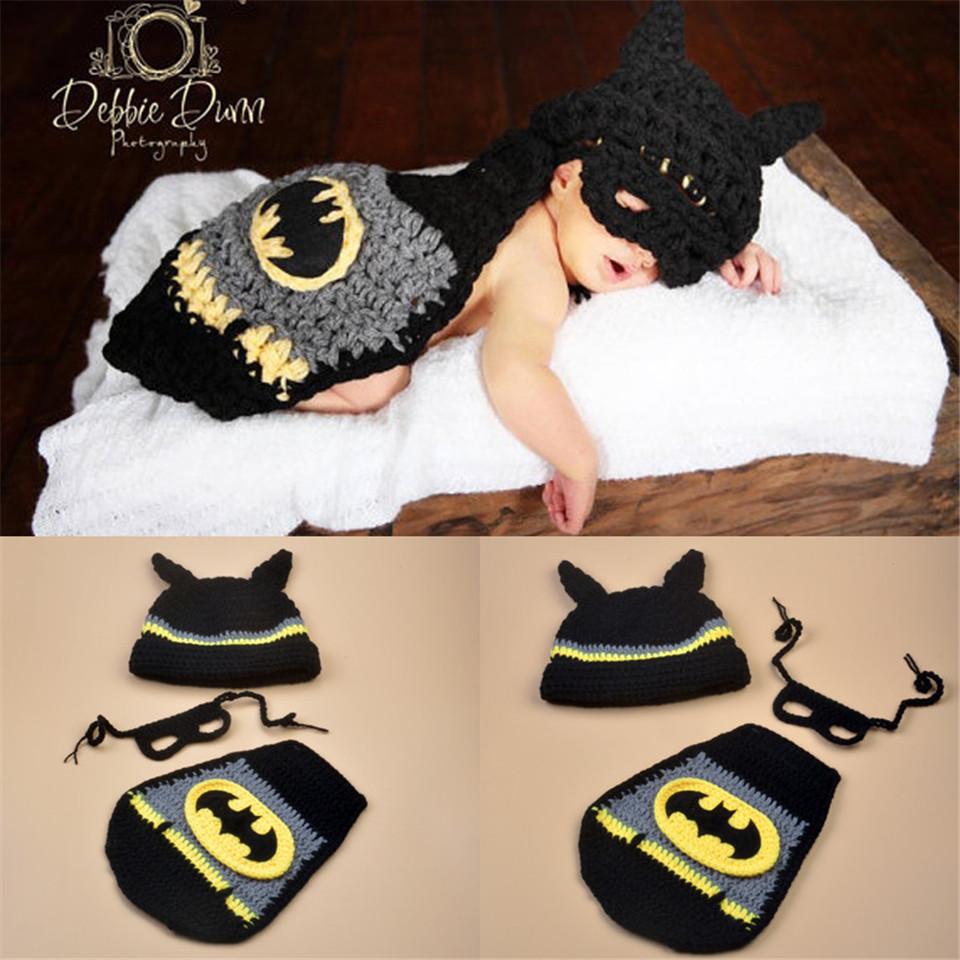 Hot Sale Photography Props newborn baby Knitted Costume Crochet Newborn Batman photo prop , super hero Hat cape Set MZS-16002(China (Mainland))