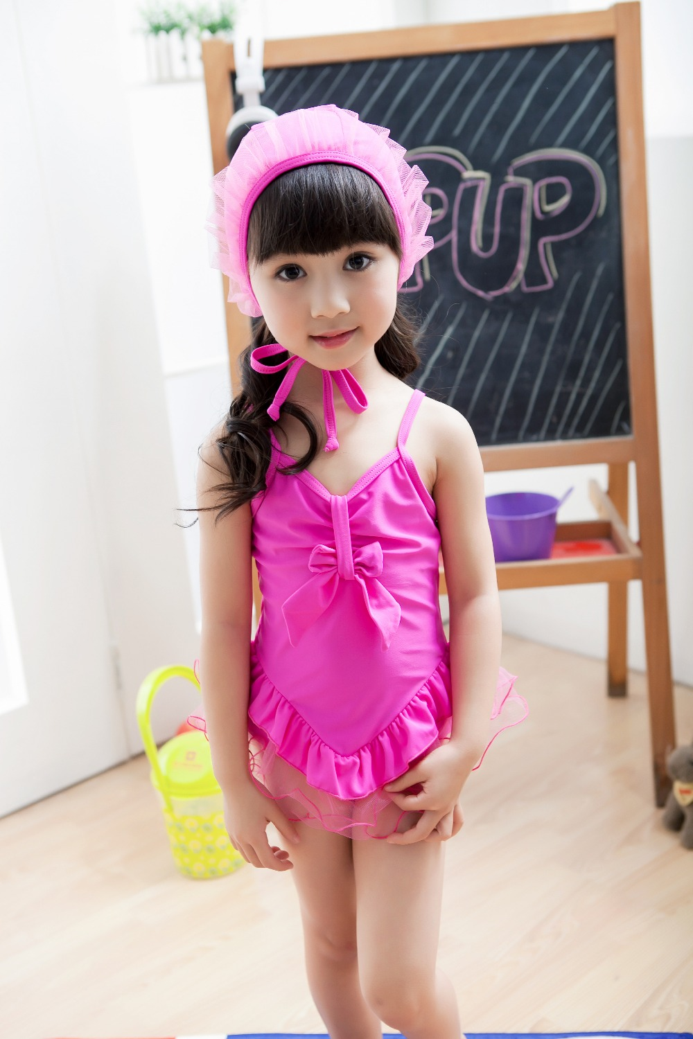 pink and hot pink new  style summer girls one piece swimwear  lace  baby swimwear with swimming cap SW129 10pcs/lot DHL free<br><br>Aliexpress