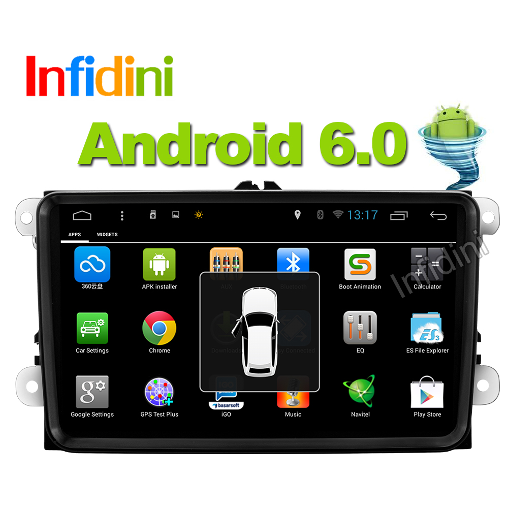 Infidini Android 6.0 car dvd player gps navigation car gps radio video player 2 din in dash for vw tiguan polo golf touran EOS(China (Mainland))
