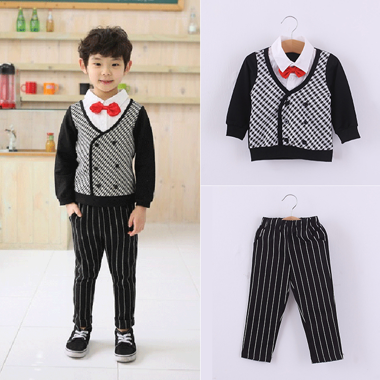 Fashion striped boys sets gentleman red bow baby boy clothes lapel long sleeve fake two shirt + pants upscale kids clothing set<br><br>Aliexpress