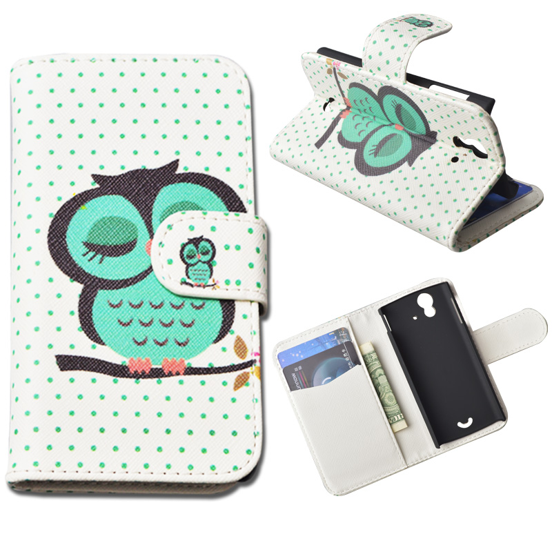 Printing Leather Cover For Sony Ericsson Xperia Ray ST18i Wallet Case With Stand and Card Holder 10 Colors In Stock(China (Mainland))