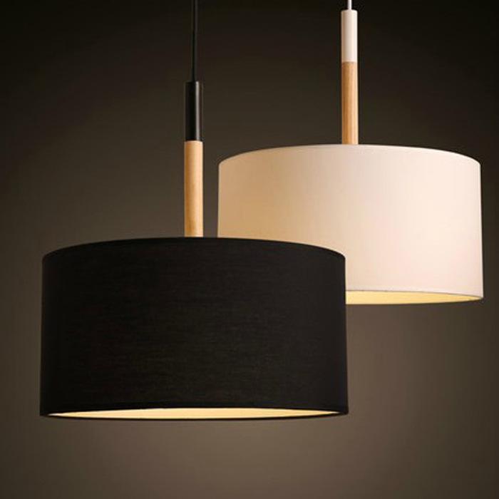 moderno lampade a sospensione a led montaggio per sala da pranzo nero bianco paralume in legno