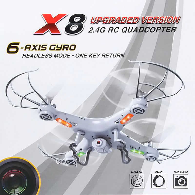 Hot Sale X8 2.4Ghz 6-Axis Gyro RC Quadcopter Drone UAV RTF UFO with 2MP HD 50 Meters Remote Control White Color High Quality