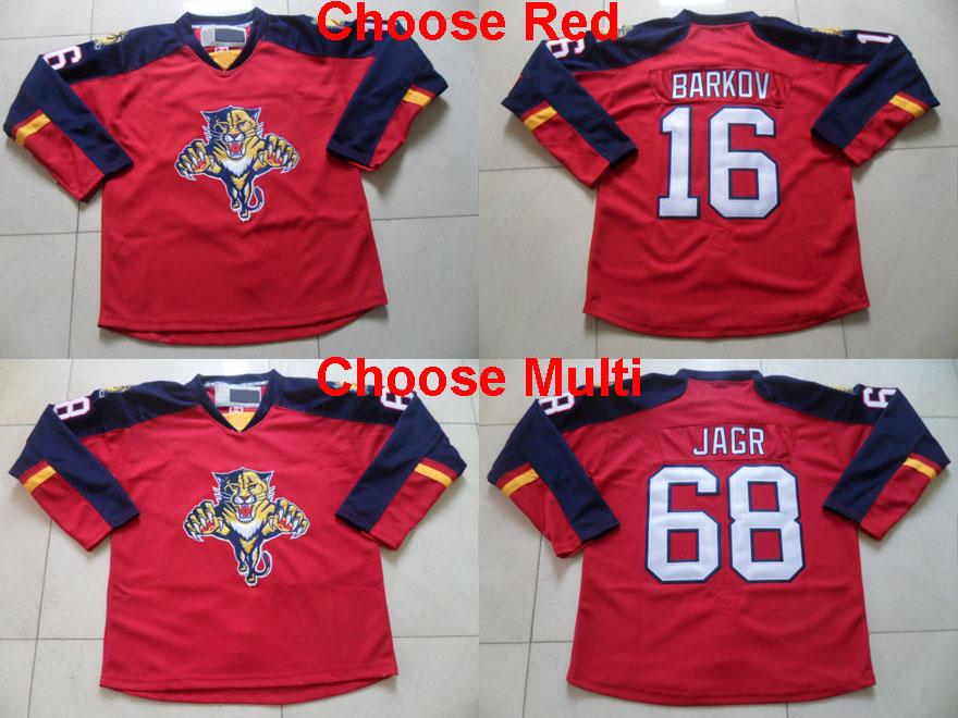 Men's Florida #16 Aleksander Barkov Jersey #68 Jaromir Jagr Hockey Jerseys,Red Home Shirts High quality,stitched(China (Mainland))