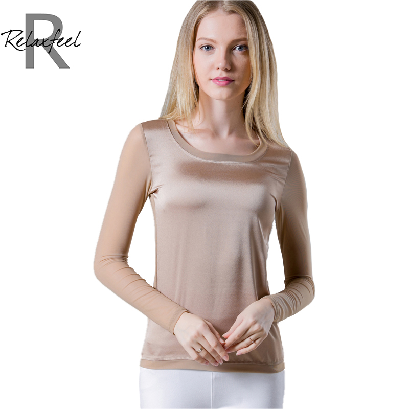 Relaxfeel Womens Pure Color Round Neck Tulle Long Sleeve Tight T-ShirtОдежда и ак�е��уары<br><br><br>Aliexpress