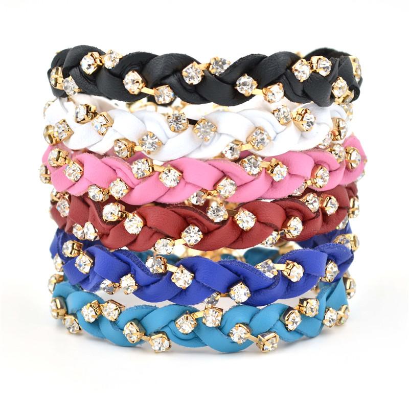 free DHL Cool men Bracelet women men jewelry pulseira masculina Genuine Leather  Rhinestone Bracelet  for mens and women gift <br>