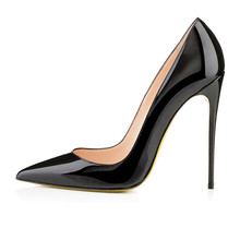 Brand REAL PHOTO Apricot color Bottom Sole High Heels Pumps shoes Pointed Toe PU Patent Leather Ladies Sexy Stiletto 12CM(China (Mainland))