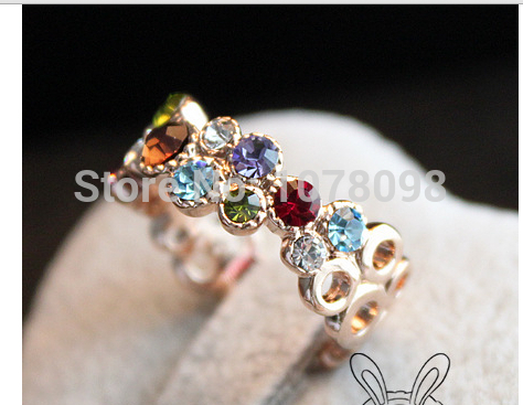 Wholesales Hot New Design Fashion Color Dot Simulated Diamond Rings Jewelry Accessories(China (Mainland))