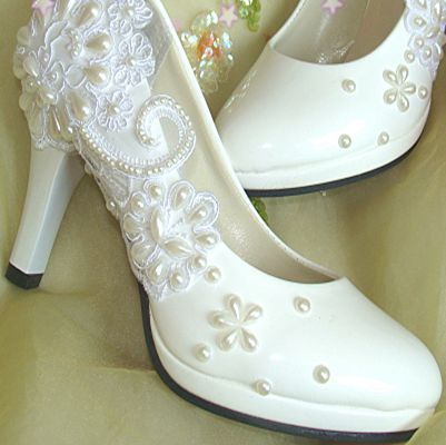 Wedding shoes ivory for women, high 8.5cm heels women's spring summer wedding pumps. pearls lace dress party pump PR427 ivory