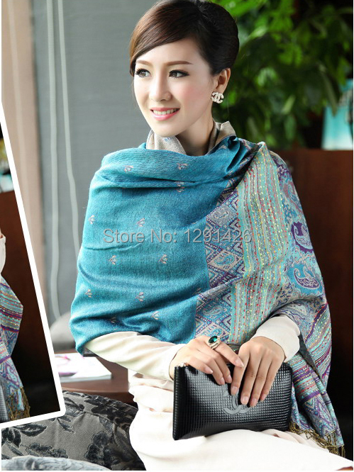 Free Shipping Lakeblue Women's Autumn Winter Fashion Double-Faces Silk Pashmina Bees Shawl Scarf Wrap Free Shipping SY006(China (Mainland))