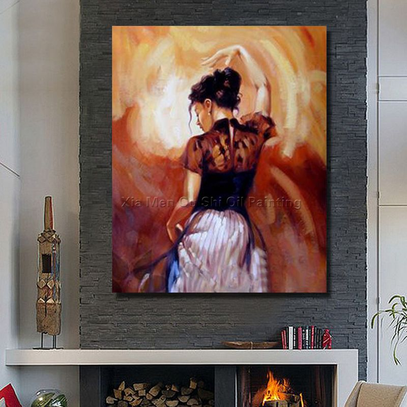 Free Hand-painted Oil Painting Beautiful Girl Adornment Picture American Art Living Room Wall Decor