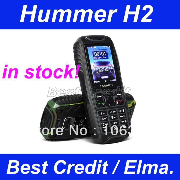 in stock freeshiping original HUMMER H2 Waterproof, shockproof, Dustproof Dual SIM Card GSM Bluetooth outdoor cell Phone(China (Mainland))