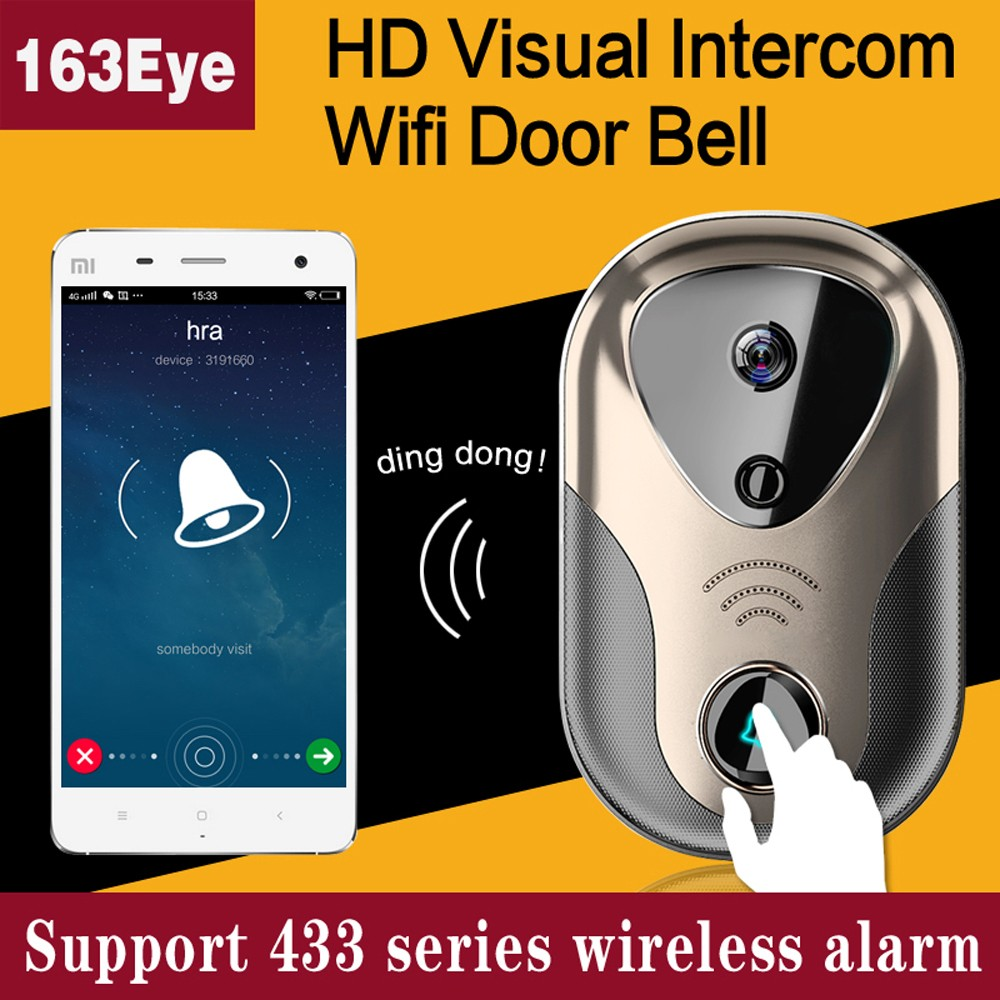 Wide View HD Visual Video Door Intercom WiFi IP Door Bell Camera Support SD Card and 433 Series Wireless Alarm L1 Doorbell(China (Mainland))