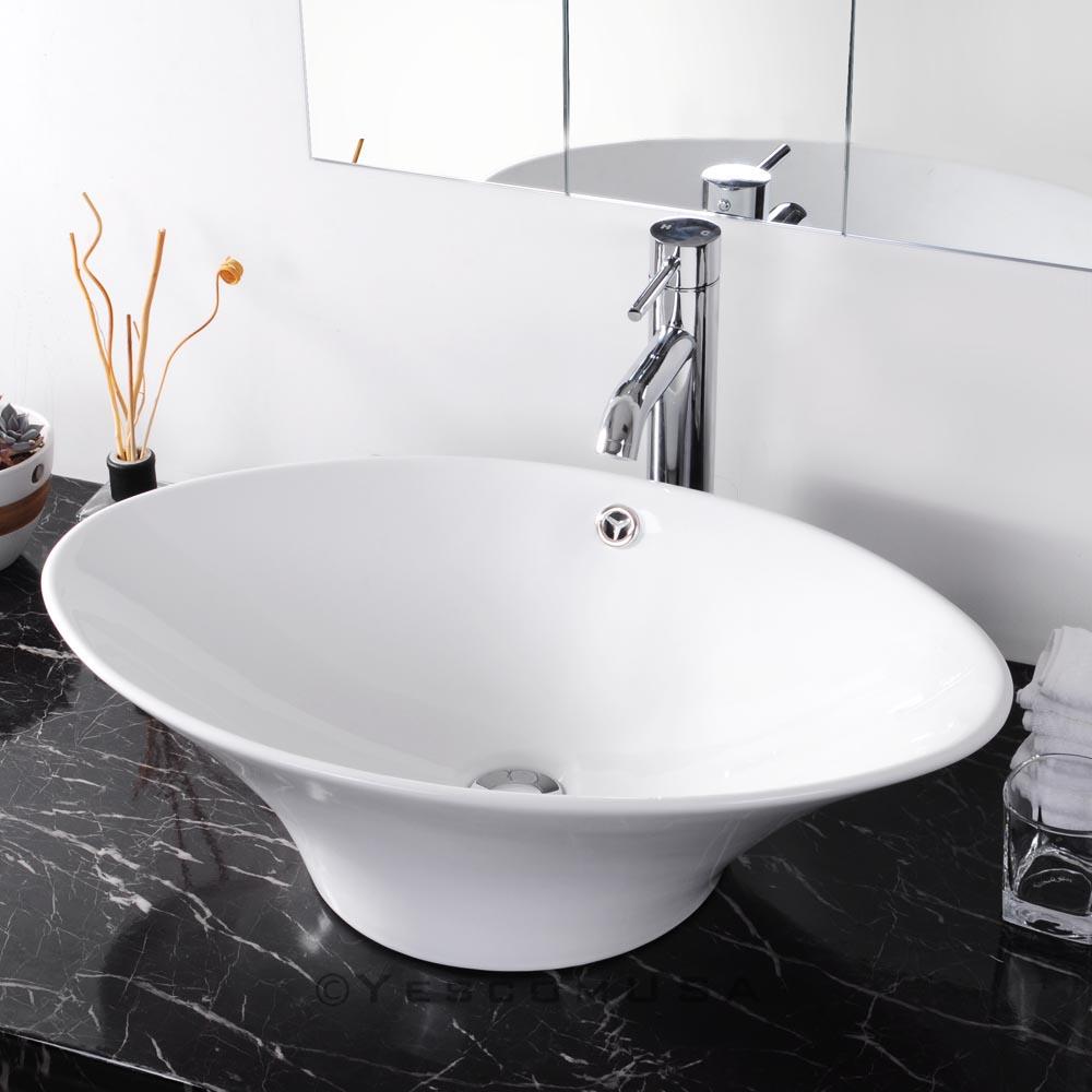 24 l art oval bathroom porcelain ceramic vessel sink white for Bathroom basin